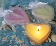 Glass Heart Candle in Heart Bag